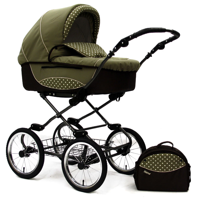 nana gracja kombi kinderwagen retro klassischer kinderwagen braun khaki grey ebay. Black Bedroom Furniture Sets. Home Design Ideas