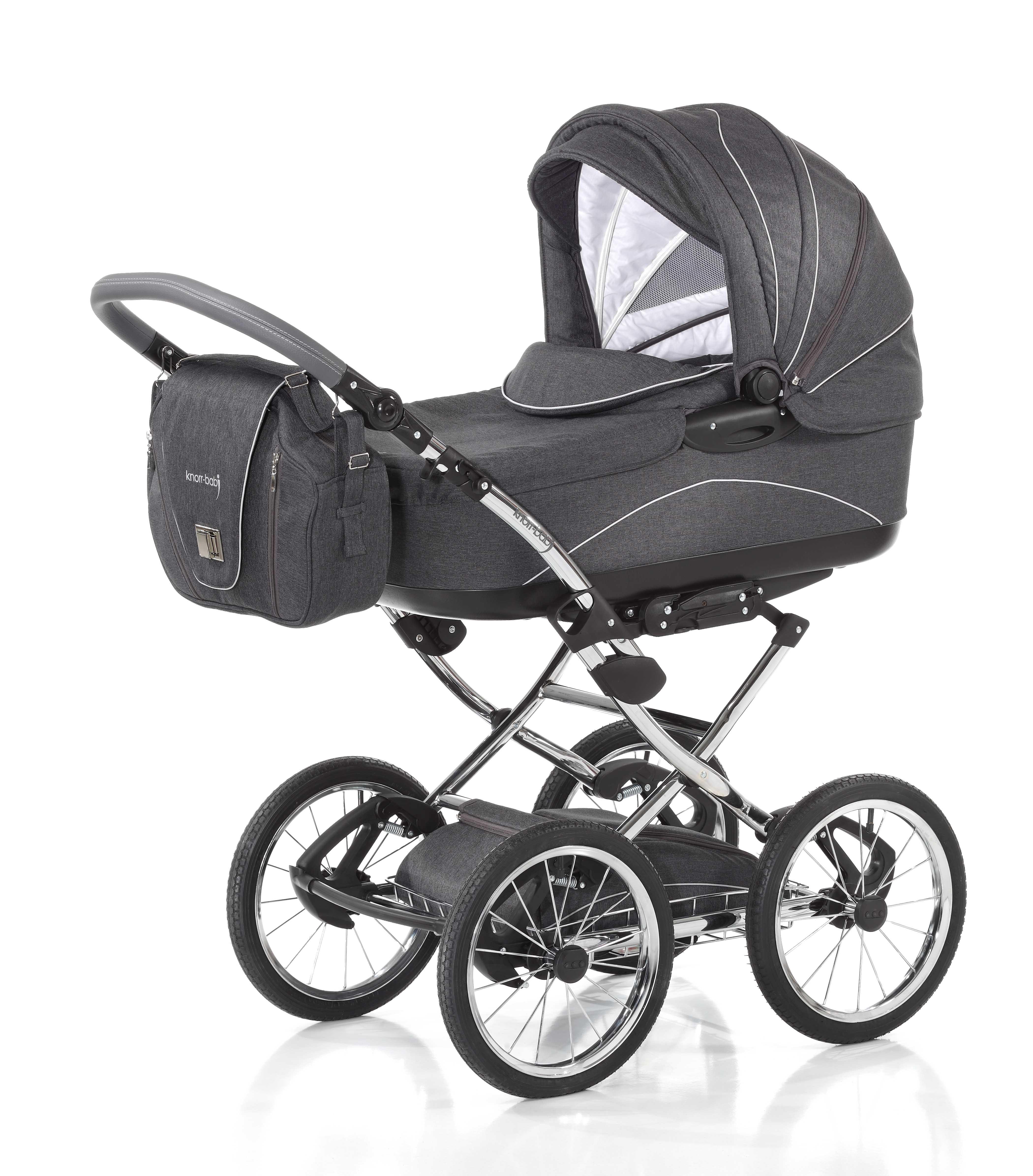 Knorr-Baby-CLASSICO-Retrokinderwagen-klassischer-Kinderwagen-Gestellfb-schwarz